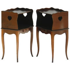 Pair of French Nightstands Bedside Tables Provincial Louis Revival Cabinets