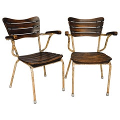 Pair of French Oak and Metal Bistro Chairs