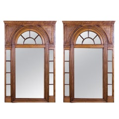 Pair of French Oak Architectural Mirrors