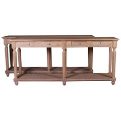 Pair of French Oak Console Tables