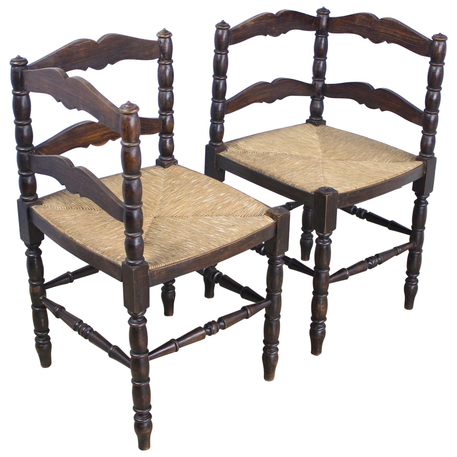 Pair of French Oak Corner Chairs