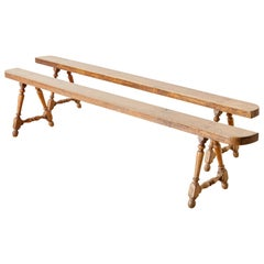 Pair of French Oak Farmhouse Harvest Table Benches