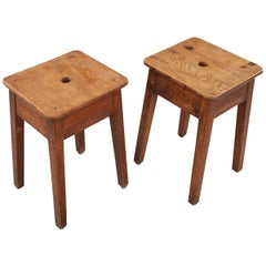 Pair of French Oak Stools