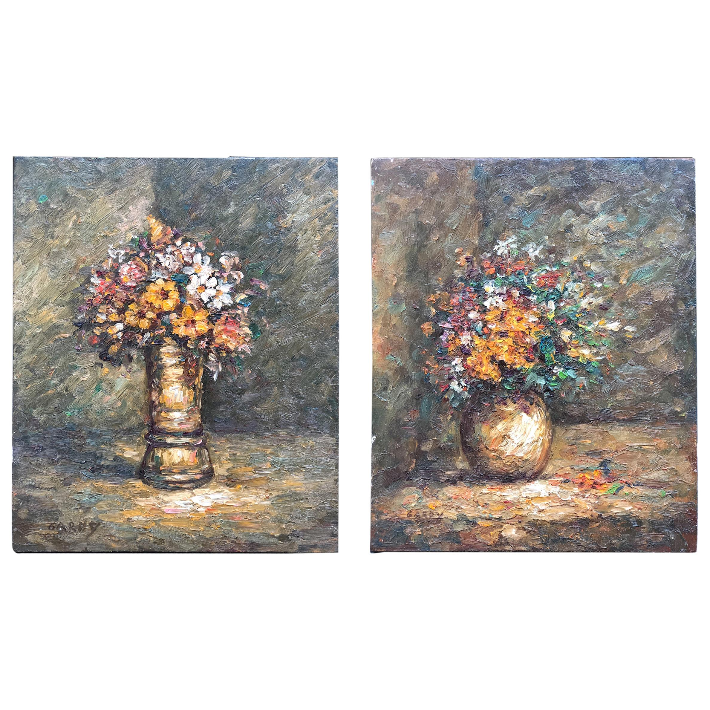 Pair of French Oil Paintings Floral Nature Morte by Gardy Claude, 1947