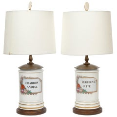 Pair of French 'Old Paris' Hand Painted Porcelain Apothecary Jars as Table Lamps