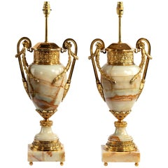 Pair of French Onyx and Ormolu Lamps