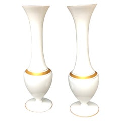 Pair of French Opaline Gilt Decorated Vases