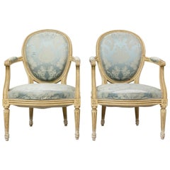 Pair of French Open Armchairs Late 18th Century Louis XVI Fauteuils to Recover