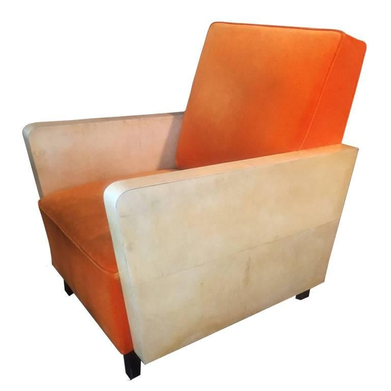 Art Deco Pair of French Orange Armchairs, 1930s For Sale