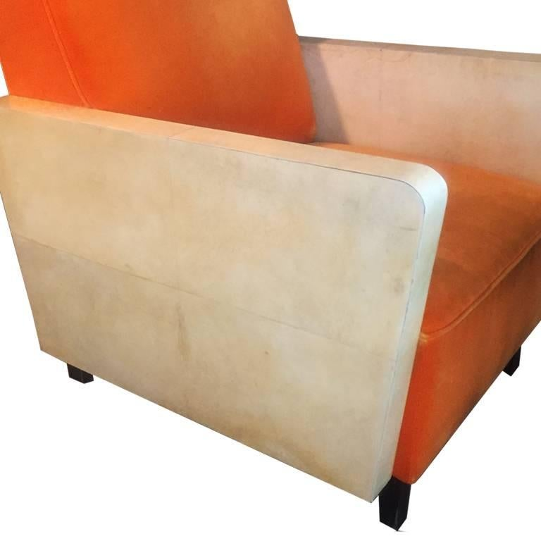 Pair of French Orange Armchairs, 1930s In Excellent Condition For Sale In Milan, IT