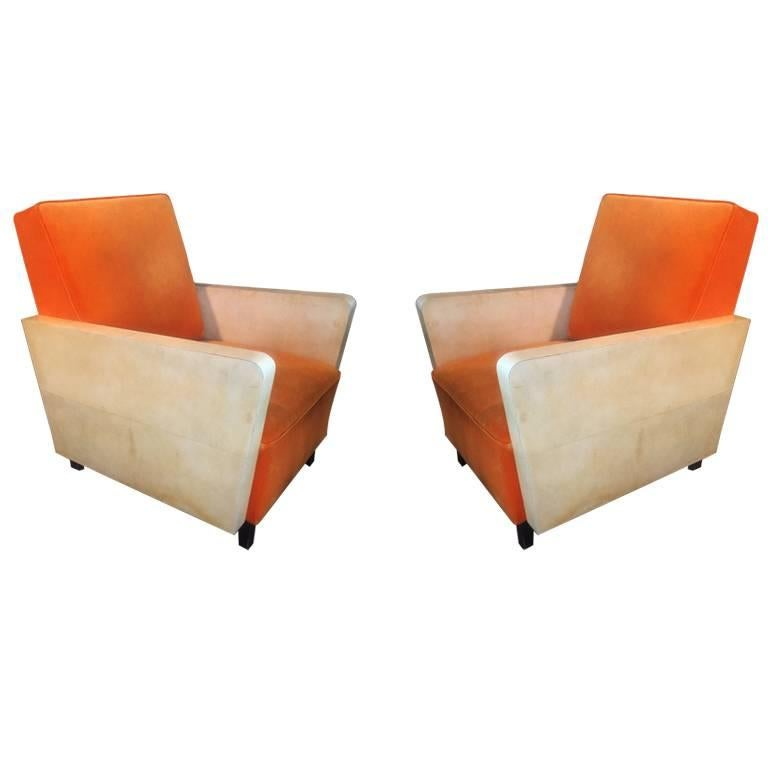 Pair of French Orange Armchairs, 1930s For Sale