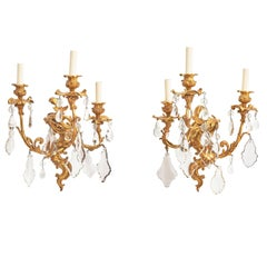 Pair of French Ormolu and Crystal Drop Louis XV Style Wall Lights, circa 1890