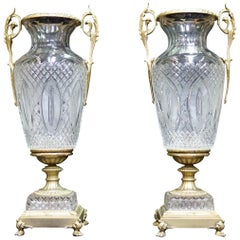 Pair of French Ormolu and Cut Crystal Urns