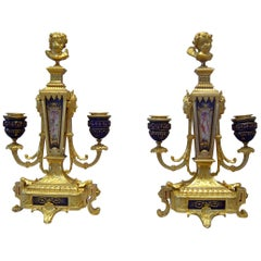Pair of French Ormolu and Jewelled Porcelain Candelabra