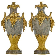 Pair of French Ormolu and Marble Urns Signed Sanglan, 19th Century