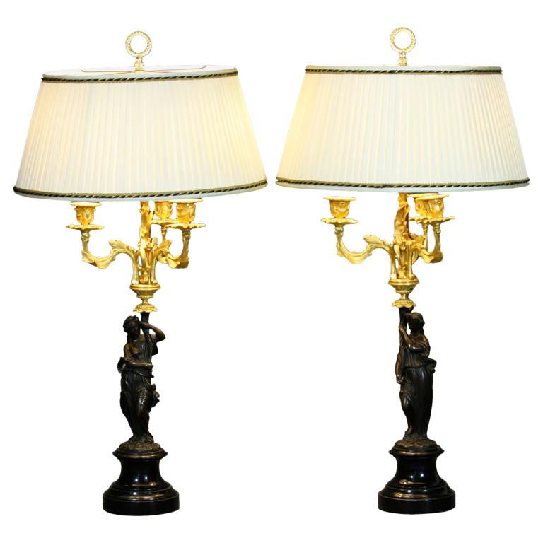 Pair of French Ormolu and Patinated Bronze Caryatid Lamps For Sale