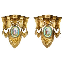 Pair of French Ormolu Bronze and Sevres Porcelain Wall Brackets Appliques