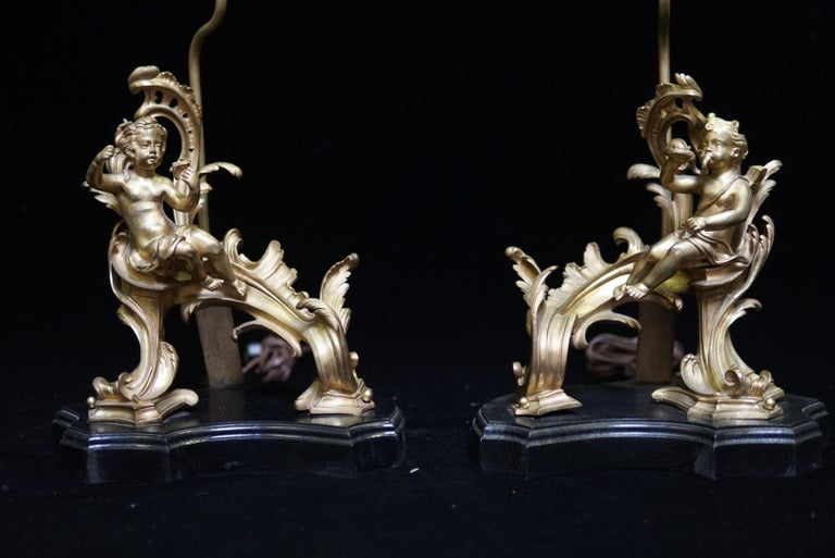 Pair of French Ormolu Chenet Mounted Lamps, 19th Century In Good Condition For Sale In Cypress, CA