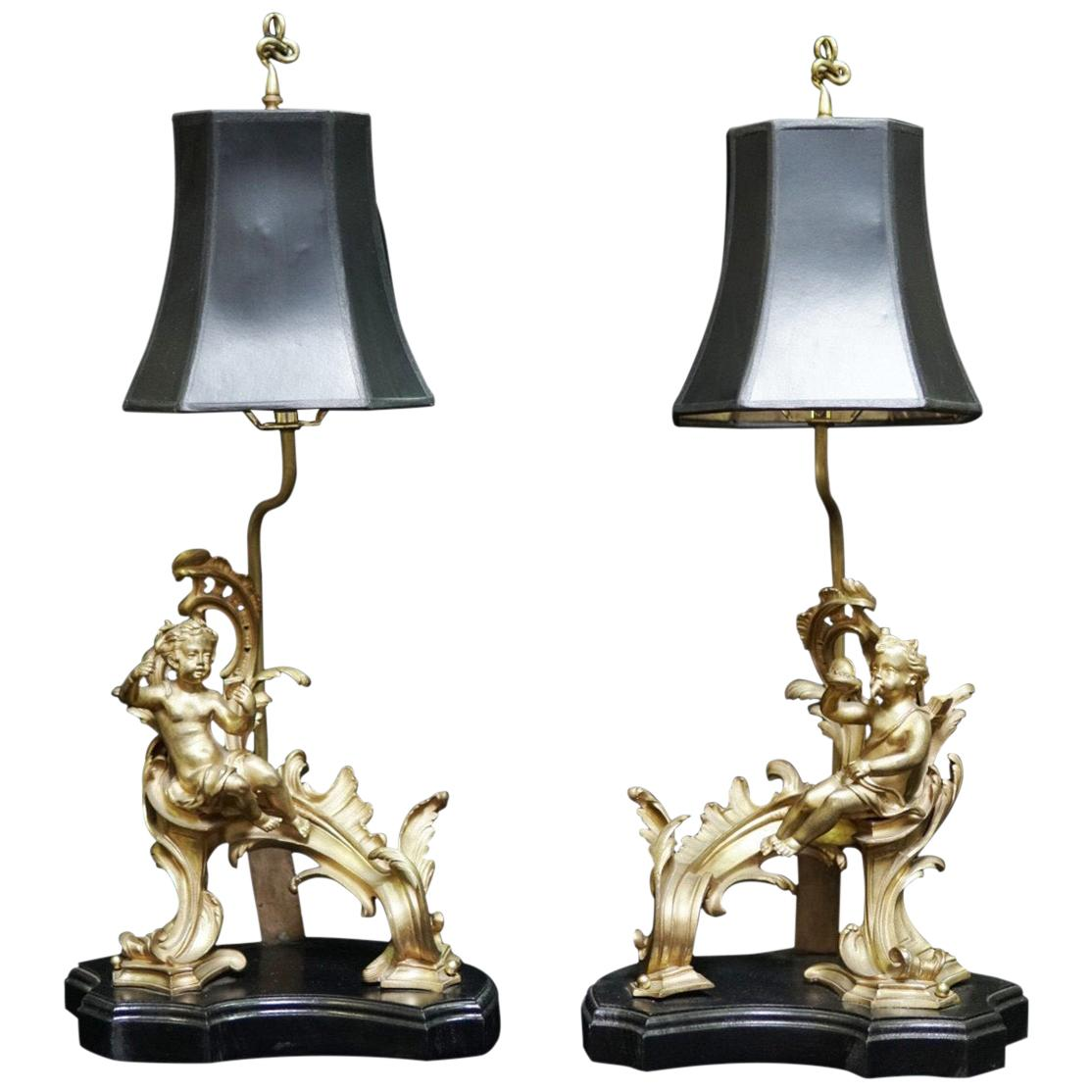 Pair of French Ormolu Chenet Mounted Lamps, 19th Century