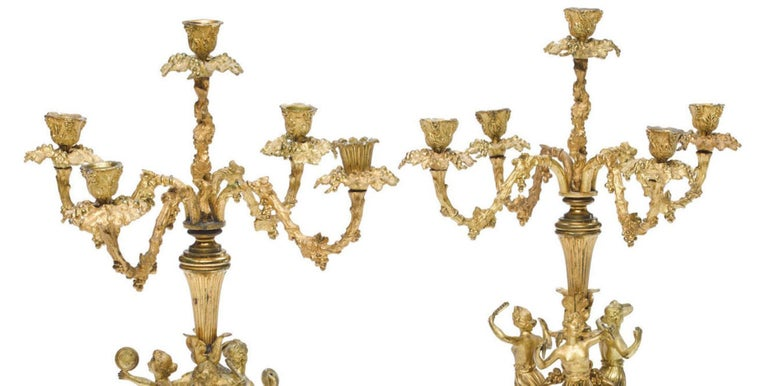 Louis XV Pair of French Ormolu Figural Candelabra, 19th Century For Sale