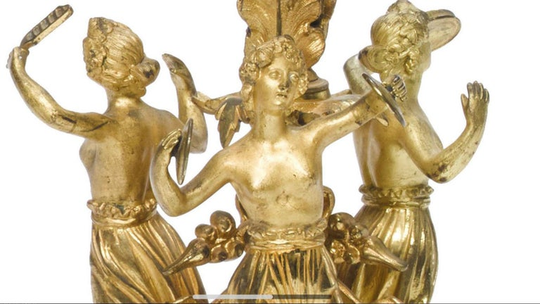 Bronze Pair of French Ormolu Figural Candelabra, 19th Century For Sale