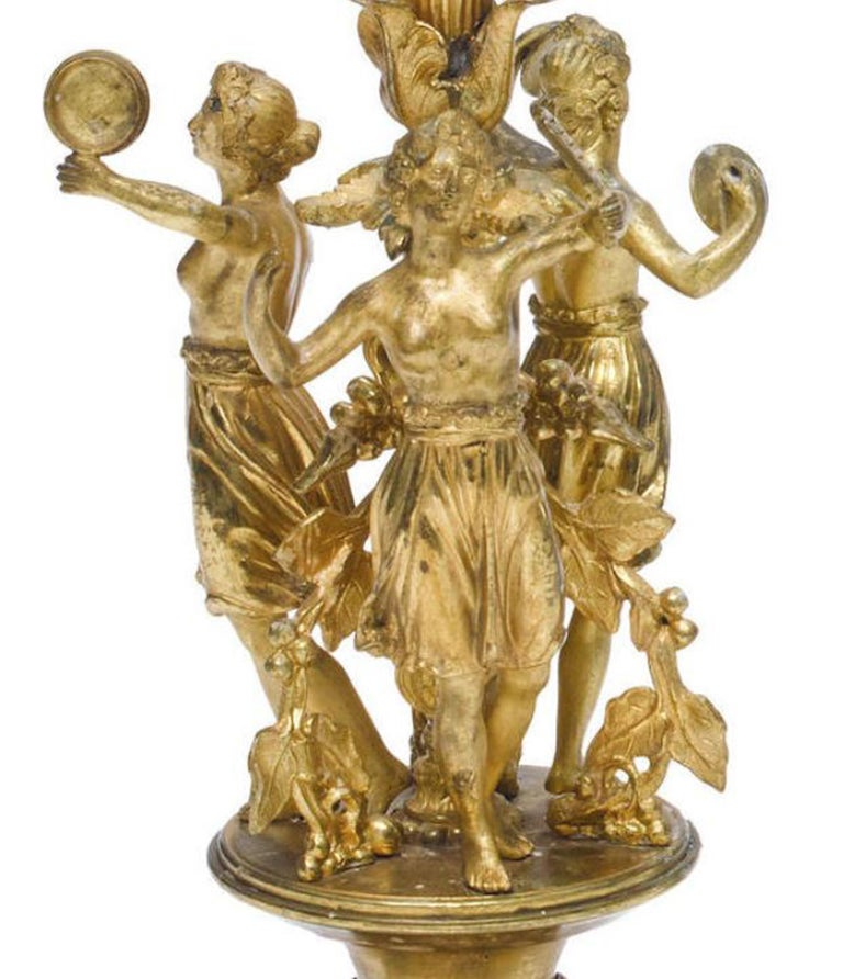 Pair of French Ormolu Figural Candelabra, 19th Century For Sale 1