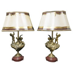 Pair of French Ormolu Figural Lamps, 19th Century