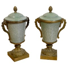 Pair of French Ormolu Mounted Chinese Celadon Vases & Covers