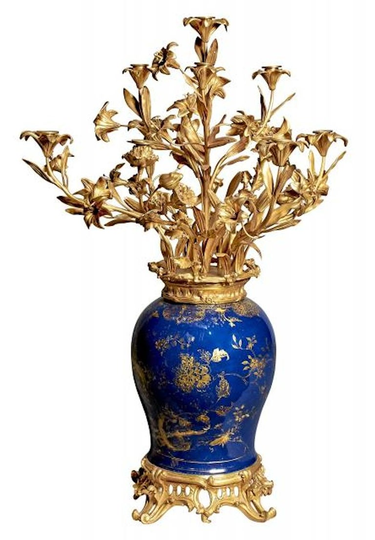 Louis XV Pair of French Ormolu-Mounted Chinese Gilt and Blue-Ground Porcelain Candelabras For Sale