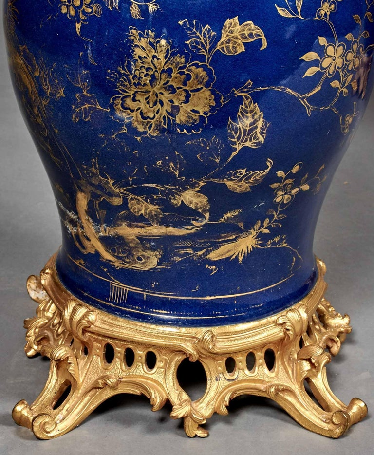 19th Century Pair of French Ormolu-Mounted Chinese Gilt and Blue-Ground Porcelain Candelabras For Sale