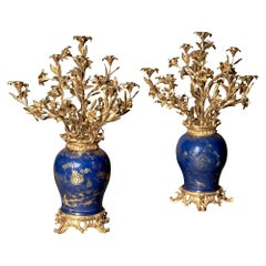 Pair of French Ormolu-Mounted Chinese Gilt and Blue-Ground Porcelain Candelabras