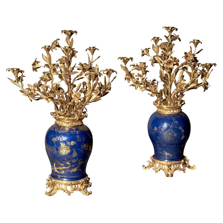 Pair of French Ormolu-Mounted Chinese Gilt and Blue-Ground Porcelain Candelabras For Sale