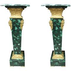 Pair of French Ormolu Mounted Malachite Pedestals
