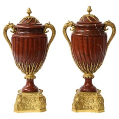 Pair of French Ormolu Mounted Rouge Marble Covered Vases, Signed Maison Boudet