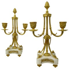 Pair of French Ormolu White Marble Twin Arm Garniture Candelabra Candlesticks