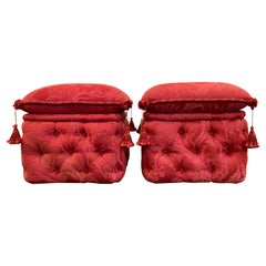 Pair of French Ottomans, Upholstered, Padded and Buttoned, Napoleon III Style