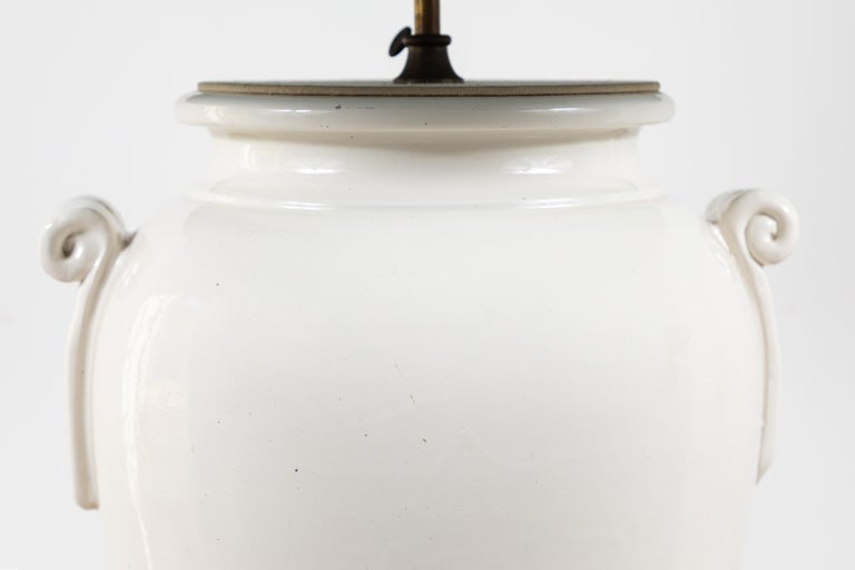 Pair of French Oversized Ceramic Ginger Jar Lamps For Sale 1