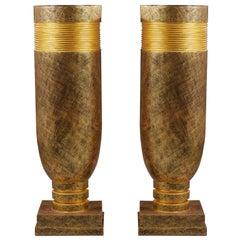 Pair of French Oversized Mid-Century Golden Vases