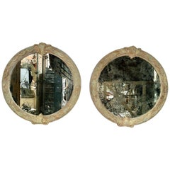 Pair of French Pained Louis XV Round Shaped Mirrors
