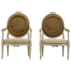 Pair of French Painted 18th Century Armchairs