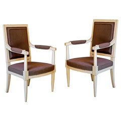 Pair of French Painted 20th Century Armchairs in the Manner of Louis Sue