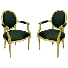 Pair of French Painted and Gilded Armchairs