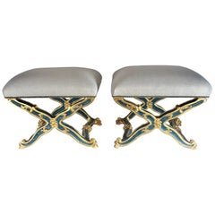 Pair of French Painted and Parcel-Gilt Benches, circa 1900s