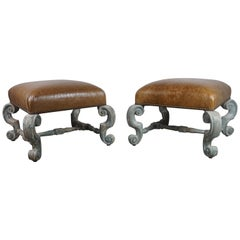 Pair of French Painted Benches with Leather Upholstery