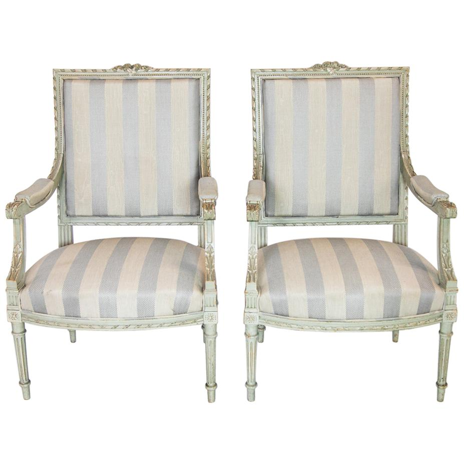 Pair of French Painted Bergère Armchairs
