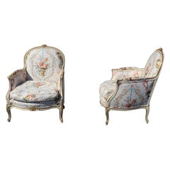 Pair of French Painted Carved Louis XV Style Bergère Chairs