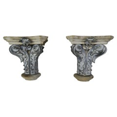 Pair of French Painted Corbels, circa 1940s