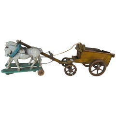 Pair of French Painted Horses Pulling Wooden Cart