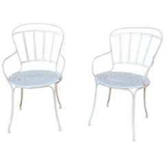 Pair of French Painted Iron Garden Chairs