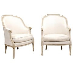 Pair of  French Painted Louis XVI Bergers, Late 18th Century